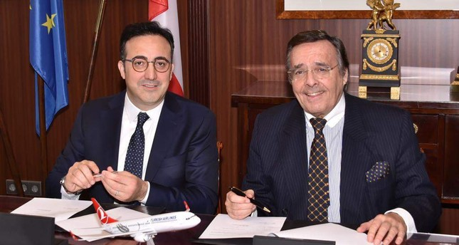 Turkish Airlines Chairman İlker Aycı L and BVMW  President Mario Ohoven signed a declaration of intent for a strategic partnership, Feb. 18, 2019.