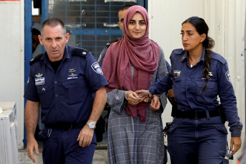 Turkish citizen, Ebru u00d6zkan, who was arrested at an Israeli airport last month, is being brought to an Israeli military court, near Migdal, Israel July 8, 2018. (REUTERS Photo)