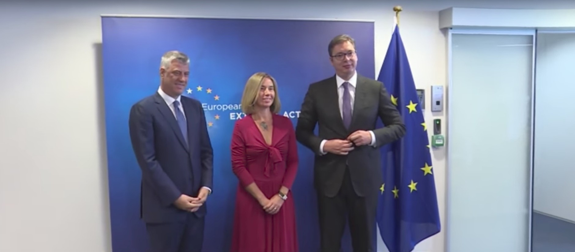 This screengrab shows Kosovo's President Thaci (L), EU's Mogherini (C) and Serbian President Vucic posing for a photo in Brussels, 3 July 2017.