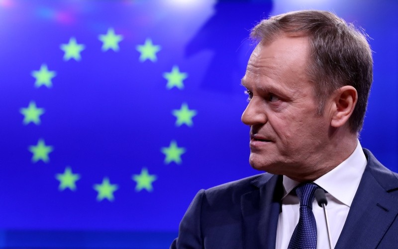 EU Council President Donald Tusk gives a statement after a meeting with Irish Prime Minister Leo Varadkar at the European Council headquarters in Brussels, Belgium, February 6, 2019. (REUTERS Photo)