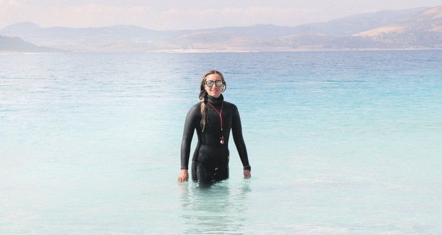World record holder diver Şahika Ercümen has been training in Lake Salda to set a new freshwater freediving world record.