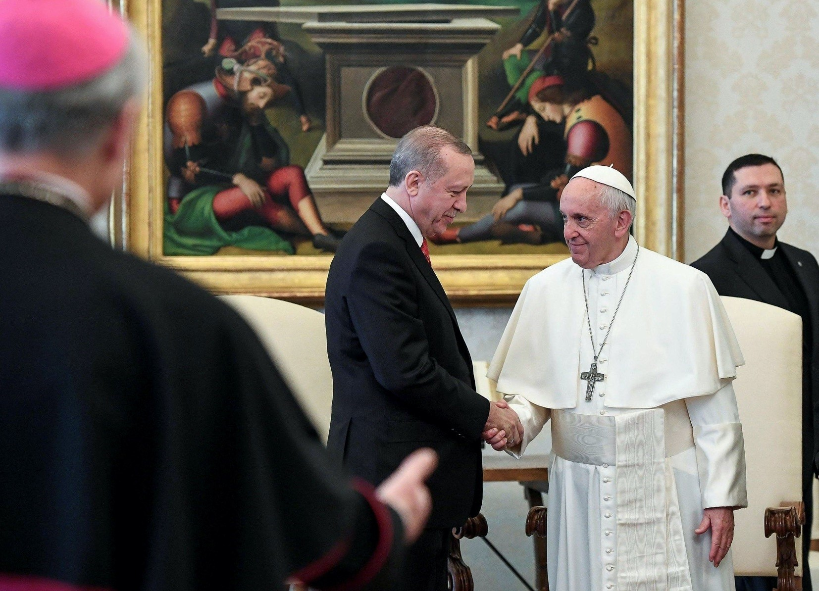 President Erdou011fan (L) at a private audience with Pope Francis, at the Vatican, Feb. 5.
