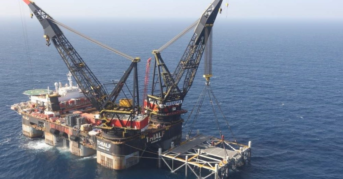 A platform in the Leviathan natural gas field, in the Mediterranean Sea off the Israeli coast. (AP Photo)