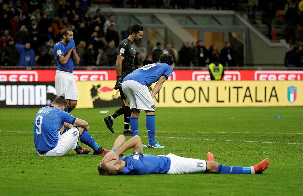 Italy players look dejected after failing to qualify to the FIFA 2018 World Cup. (Reuters Photo)