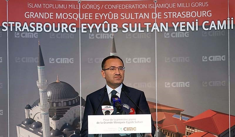 Deputy Prime Minister Bekir Bozdau011f speaking at the groundbreaking ceremony of Eyyub Sultan Mosque in Strasbourg, France on Sunday, Oct. 15, 2017 (AA Photo)