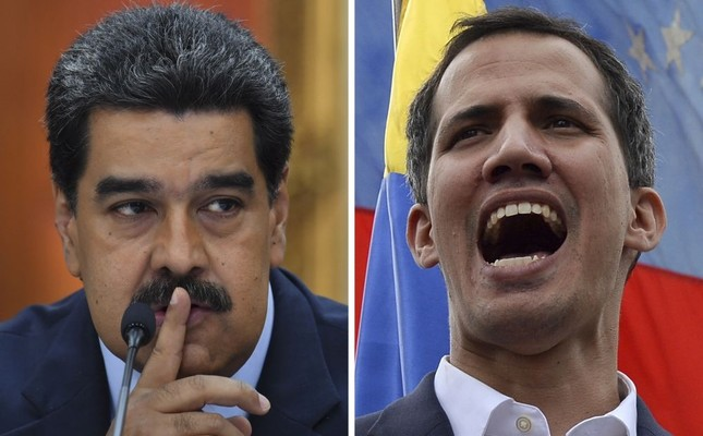 Venezuelan President Nicolas Maduro gestures during a press conference at Miraflores Presidential Palace, Caracas, Jan. 9, 2019 and the opposition leader Juan Guaido addresses a crowd during a mass opposition rally, Caracas, Jan. 23, 2019.