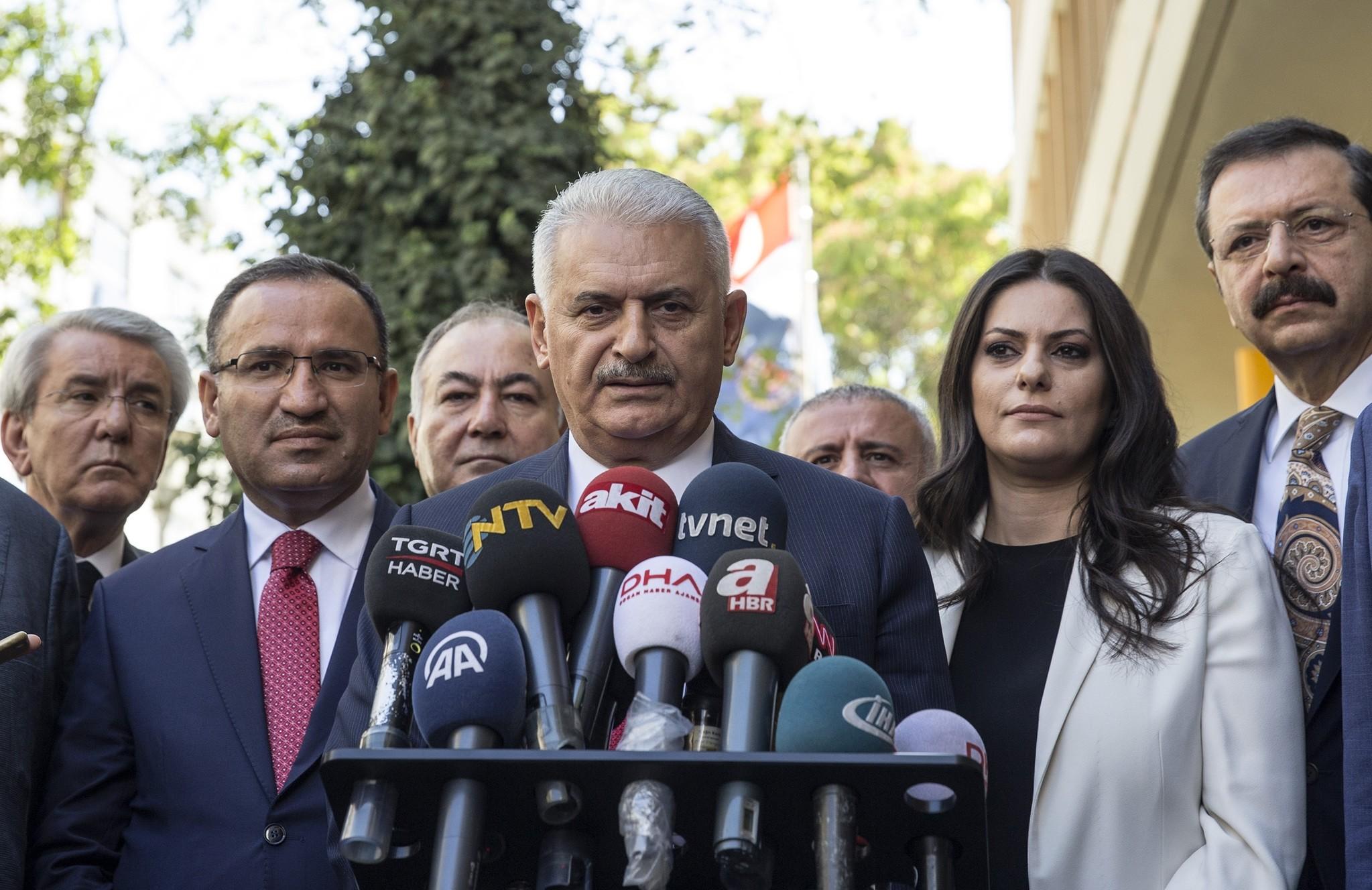 Prime Minister Binali Yu0131ldu0131ru0131m speaks to the media in Ankara, Turkey, Friday Sept. 22, 2017. (AP Photo)