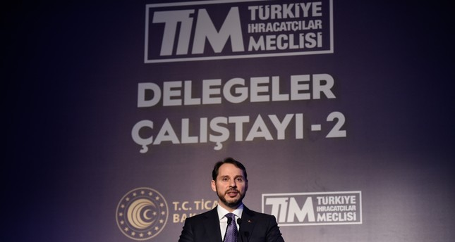 Treasury and Finance Minister Berat Albayrak speaks at the Delegation Workshop of Turkish Exporters' Assembly (TİM) in Istanbul, Feb. 7, 2019.
