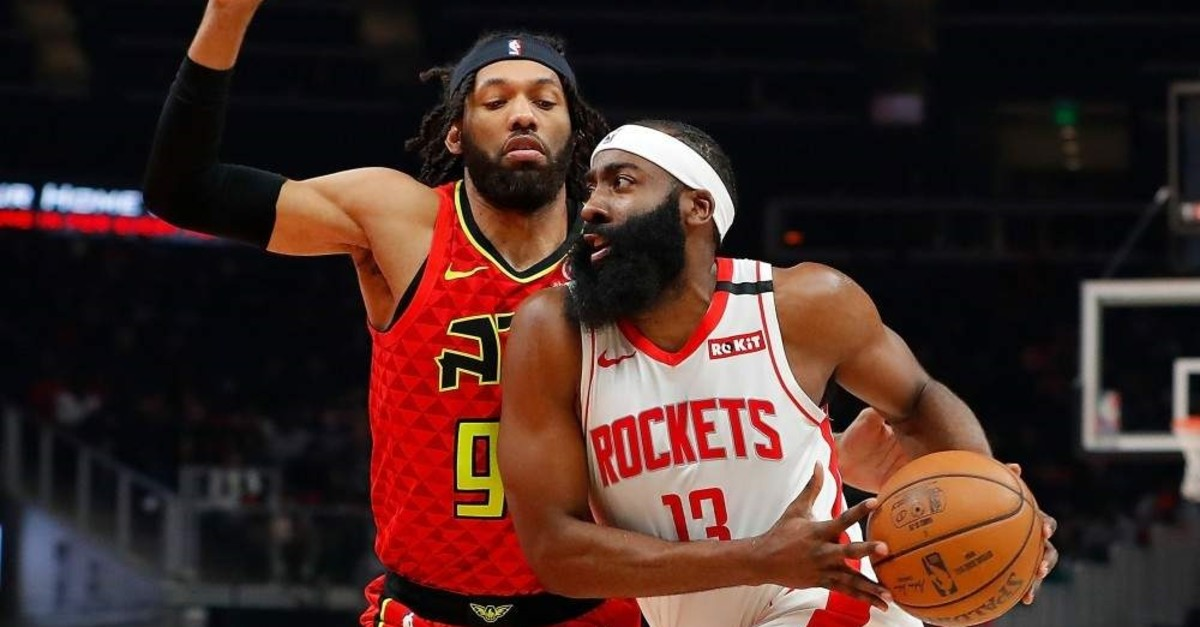 Harden drives against Bembry during the first half at State Farm Arena, Jan. 8, 2020. (AFP Photo)