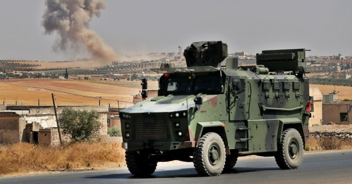 A Turkish military vehicle is pictured near the town of Maar Hitat in Syria's northern Idlib province, Aug. 20, 2019.