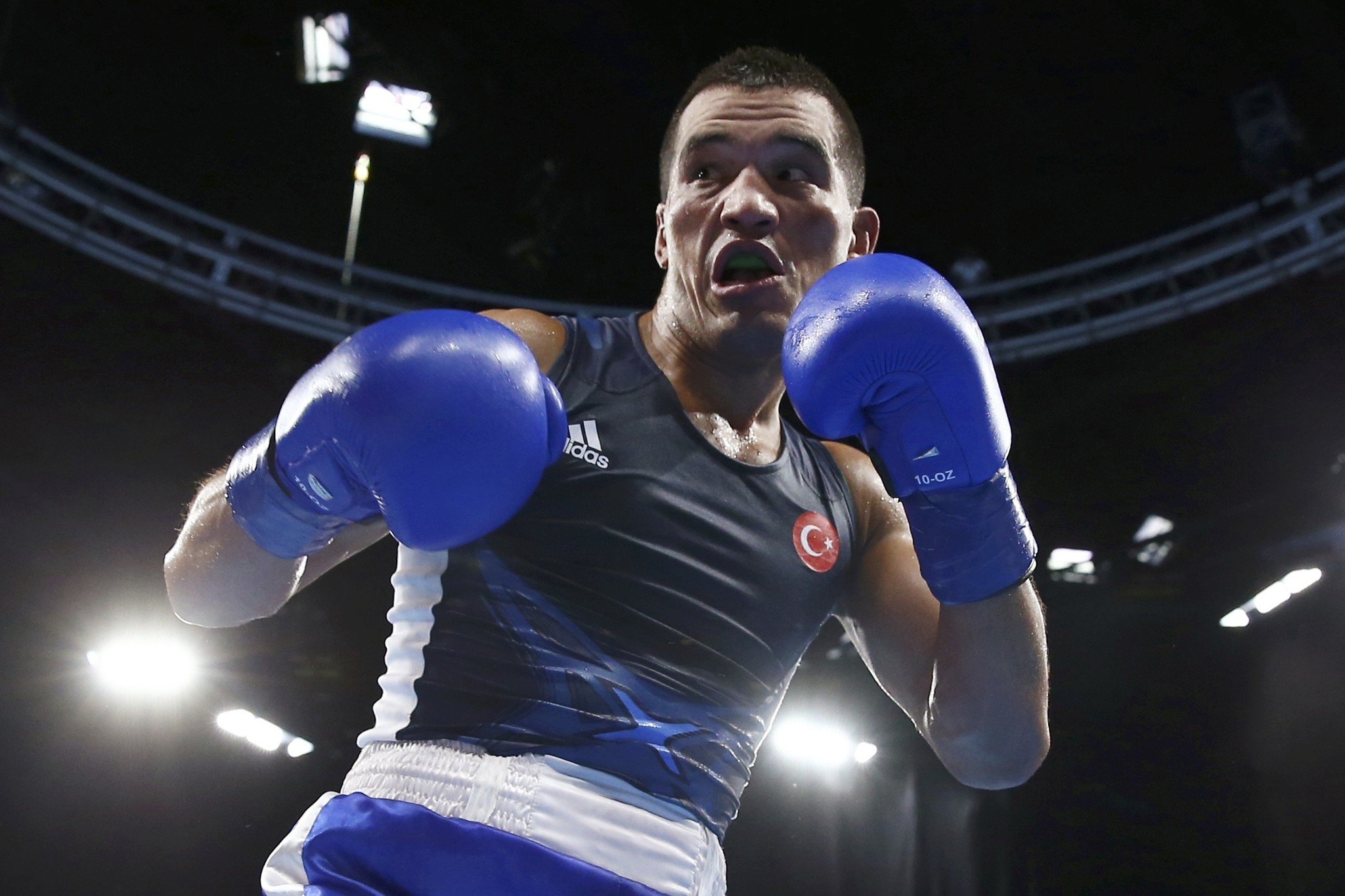 Batuhan Gu00f6zgeu00e7 of Turkey competed in the 2016 Rio Olympics in the Men's Light Welter (64kg) quarterfinal.