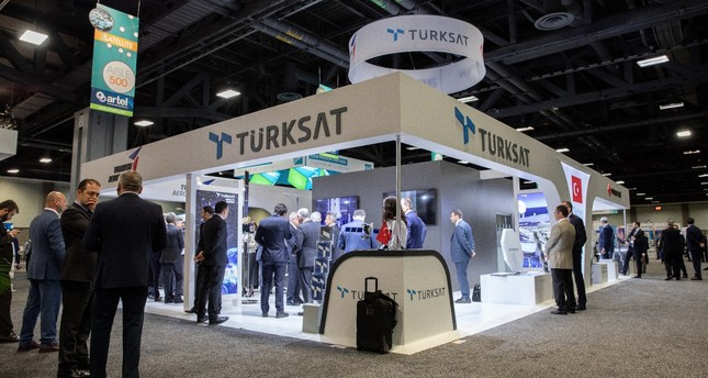 The Türksat booth at the 2019 Satellite Conference in Washington D.C., May 6, 2019.