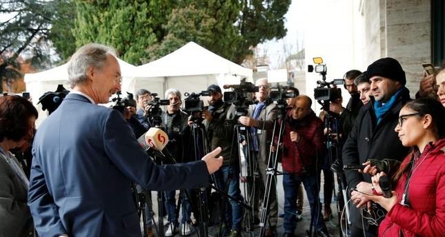 U.N. Special Envoy for Syria Geir Pedersen gestures as he speaks to the media at the U.N., Geneva, Switzerland Nov. 29, 2019 (Reuters Photo)