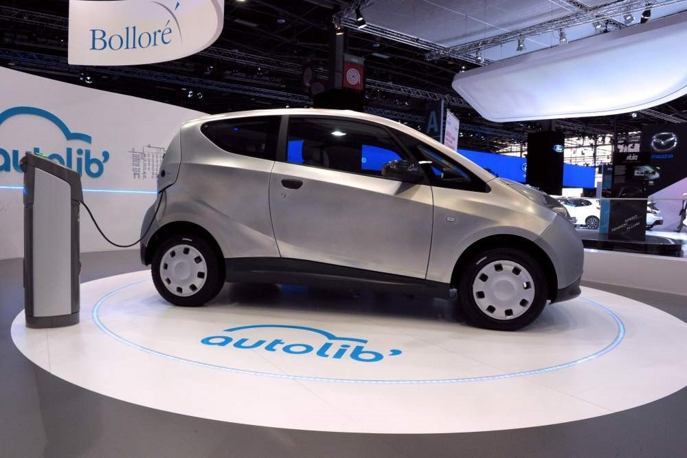 An Autolib electric bluecar for the point-to-point electricrental cars system displayed on the Bollore stand during the press days of the Paris Motor Show.