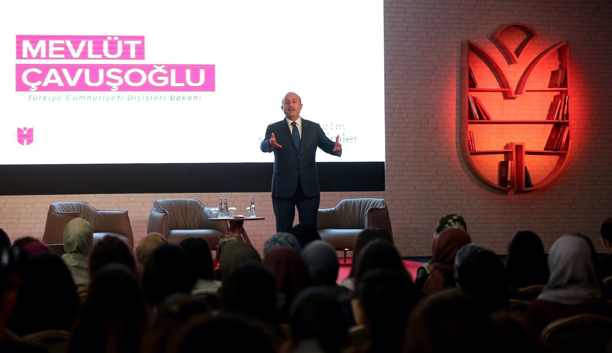 u00c7avuu015fou011flu speaking at a panel held by Ibn Haldun University yesterday, Istanbul.