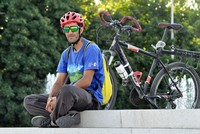 Turkish cyclist rides to Bishkek in journey to 'homeland'