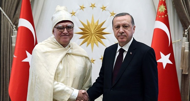 In this file photo on Jan. 18, 2017, President Recep Tayyip Erdoğan receives newly appointed Moroccan envoy Menouar Alem (L) at the Beştepe Presidential Complex in Ankara.