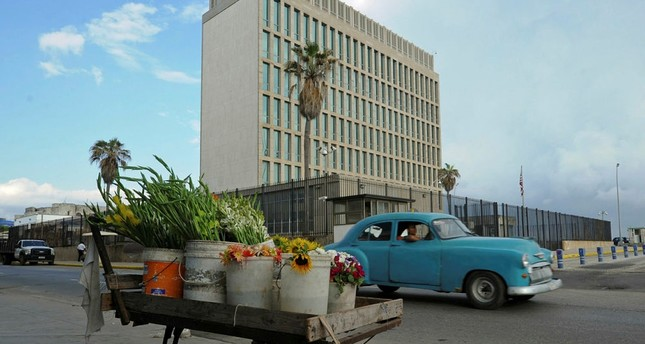 This file photo taken on December 17, 2015 shows a cart with flowers next to the US Embassy in Havana. (AFP Photo)