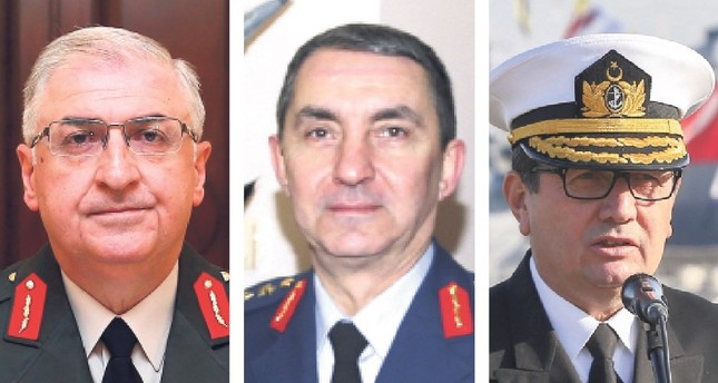 Commander of the Land Forces Gen. Yaşar Güler (L), Naval Forces Commander Adm. Adnan Özbal (C) and Air Force Commander Hasan Küçükakyüz (R).