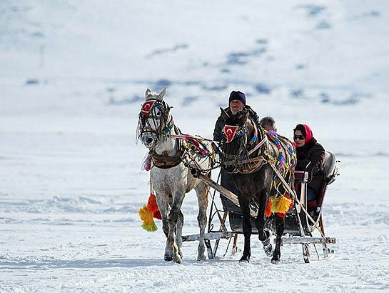 Local and foreign visitors who make their way to Kars with the Dou011fu Ekspres experience riding on the troikas on frozen Lake u00c7u0131ldu0131r.