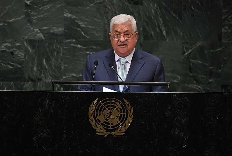 Palestinian President Mahmud Abbas addresses the 73rd session of the General Assembly at the United Nations in New York Sept. 27, 2018. (AFP Photo)