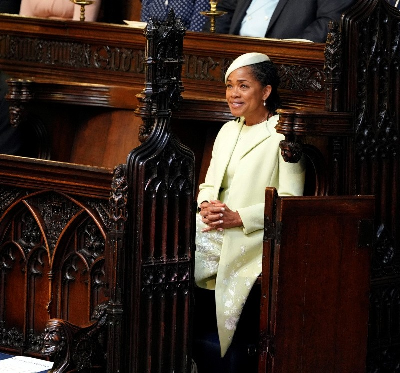 Doria Ragland takes her seat, prior to the start of the wedding ceremony of Prince Harry and Meghan Markle at St. George's Chapel in Windsor Castle in Windsor, near London, England, Saturday, May 19, 2018.