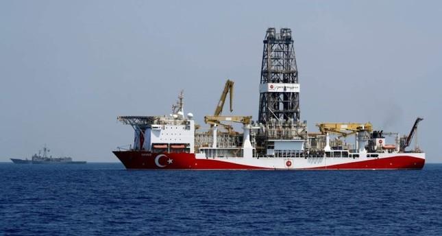 Turkish drilling vessel Yavuz is escorted by Turkish Navy frigate TCG Gemlik F-492 in the eastern Mediterranean Sea off Cyprus, August 6, 2019. Reuters Photo