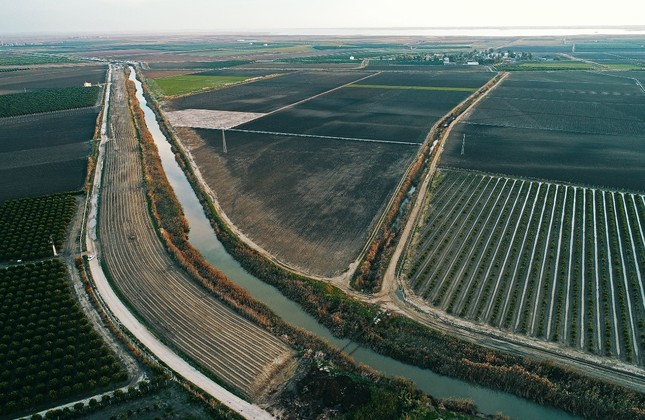 Water canals run though the fertile lands in southern Turkey.