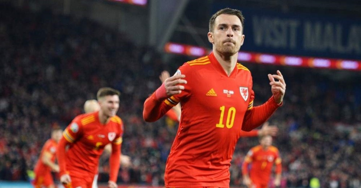 Ramsey celebrates after scoring two goals during the qualification match between Wales and Hungary in Cardiff, Nov. 19, 2019. (EPA)