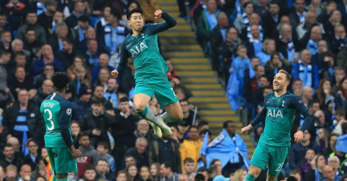 Tottenham Hotspur's South Korean striker Son Heung-Min celebrates scoring his team's second goal during the UEFA Champions League quarter final second leg football match (AFP Photo)