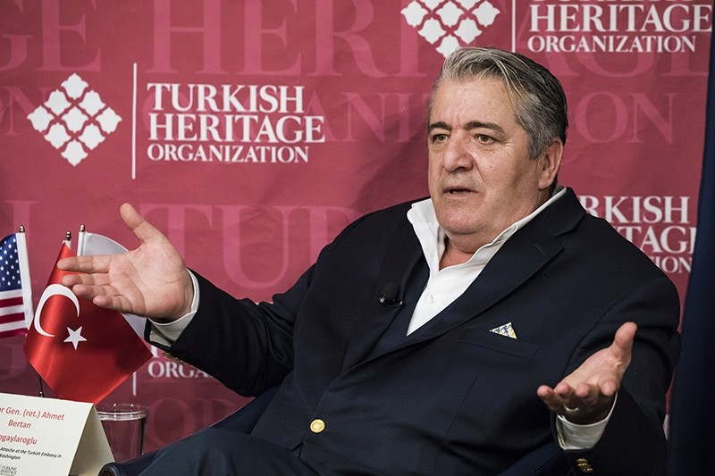 Ahmet Bertan Nogaylarou011flu speaks at the panel organized by the Turkish Heritage Organization in Washington (AA Photo)