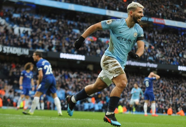 Manchester City's Sergio Aguero celebrates after scoring his side's third goal during the English Premier League soccer match between Manchester City and Chelsea at Etihad stadium in Manchester, England, Sunday, Feb. 10, 2019. (AP Photo)