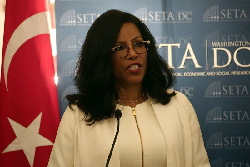 Malcolm X's daughter Ilyasah Shabazz speaks at SETA panel in New York on Sept. 24, 2018. (AA Photo)