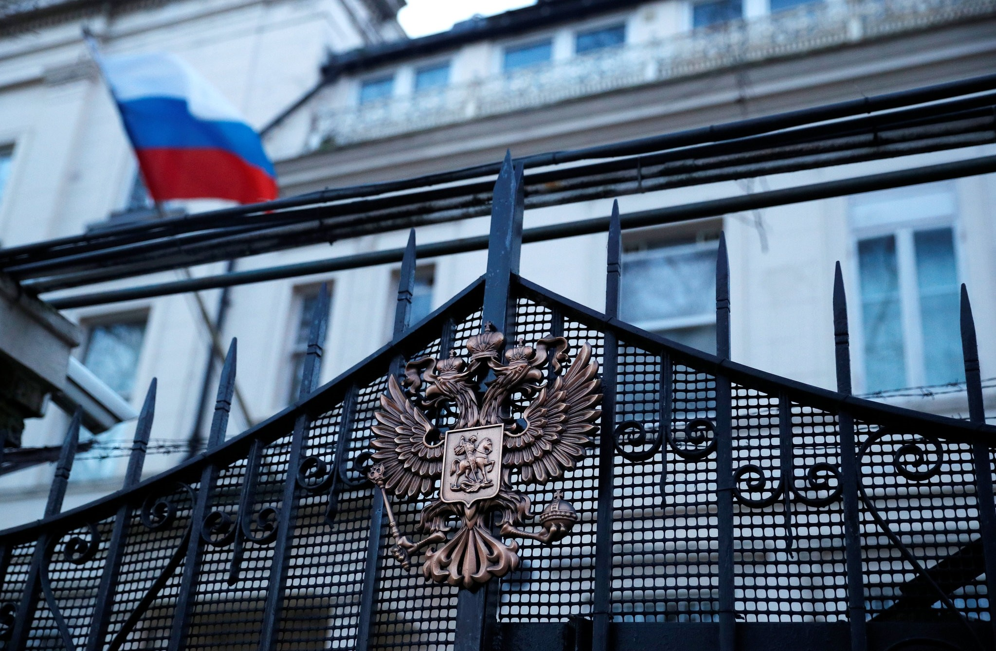 Russia's flag flies from the consular section of its embassy, in central London, Britain March 14, 2018. (REUTERS Photo)