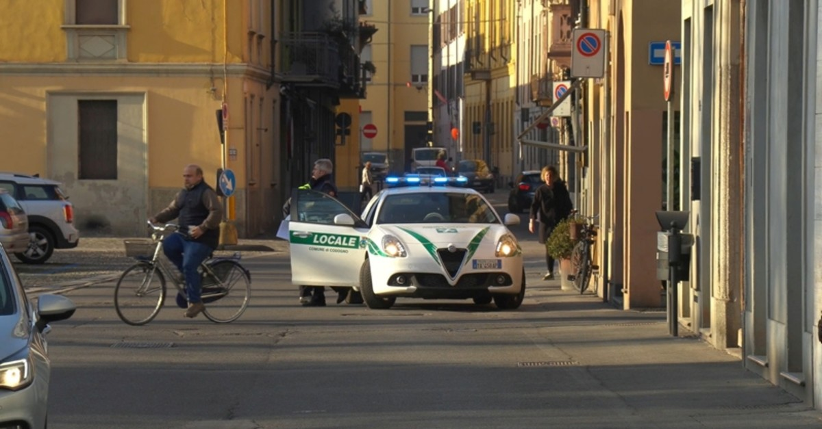 A police car is seen in the village of Codogno after officials told residents to stay home and suspend public activities as 14 cases of coronavirus are confirmed in northern Italy, in this still image taken from video in Lodi (Reuters)
