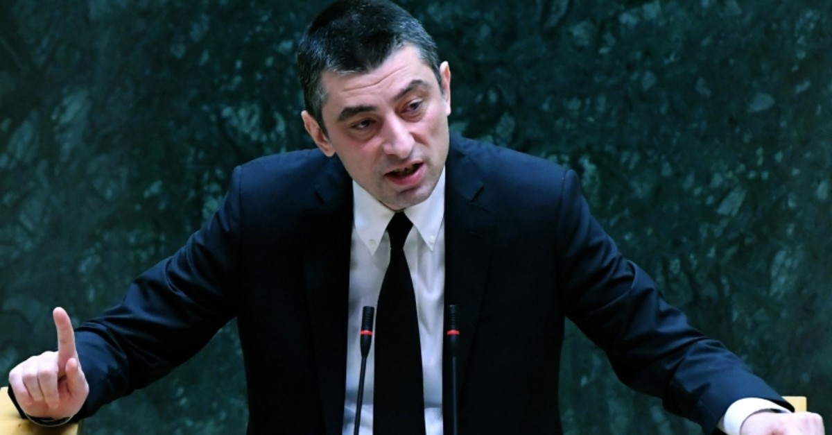 New Georgian Prime Minister Giorgi Gakharia speaks at the Parliament in Tbilisi as he faces a confidence vote, on September 8, 2019. (AFP Photo)