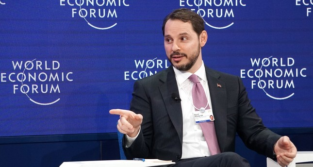 """Treasury and Finance Minister Berat Albayrak speaks during the """"Emerging Markets Outlook"""" session at the 49th World Economic Forum (WEF) in Davos, Switzerland, Jan. 23, 2019."""