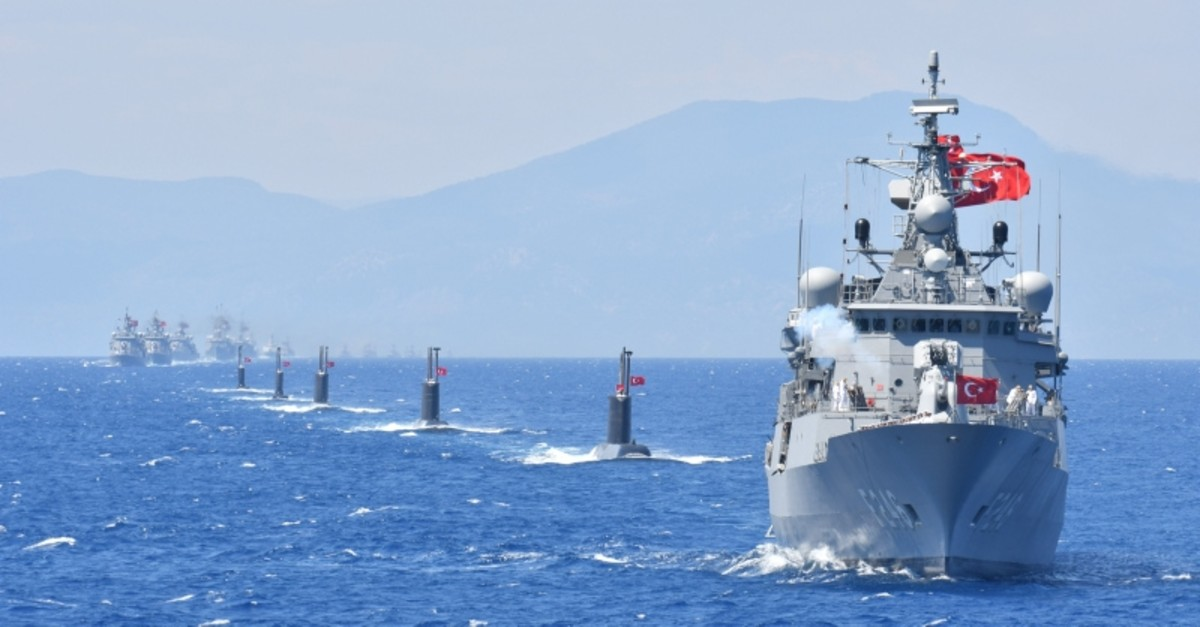 Turkish ships and submarines seen during military exercise Sea Wolf (Denizkurdu) 2019. (Sabah photo)