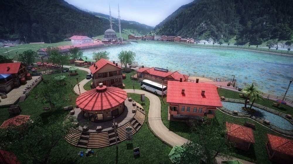 A screenshot from a 3D next generation first person shooter game developed by Turkish entrepreneurs. The game depicts picturing various places in Turkey such as northern Black Sea district Uzungu00f6l.