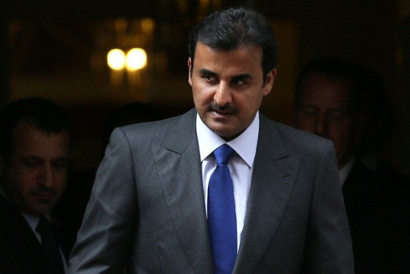 The Emir of Qatar Tamim bin Hamad Al Thani departs after meeting British Prime Minister Theresa May at 10 Downing Street, in London, Thursday, Sept. 15, 2016. (AP Photo)