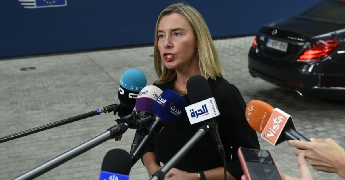 European Union for Foreign Affairs and Security Policy Federica Mogherini answers journalists' questions during a Foreign Affairs meeting at the EU headquarters in Brussels on July 15, 2019. (AFP Photo)