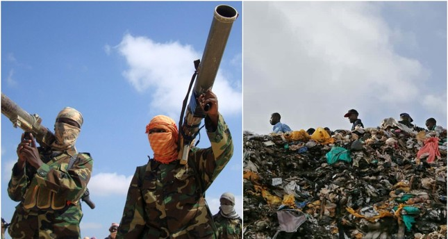 Members of Somalia's al-Qaida linked al-Shabab militia hold their weapons in Mogadishu Jan. 1, 2010. (REUTERS) / Plastic bags in Kenya. (EPA)