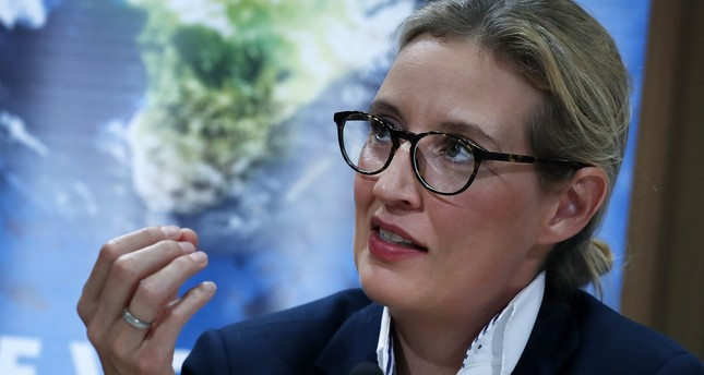 The top candidate for the general elections of the German right-wing populist party Alternative for Germany (AfD), Alice Weidel  speaks during a press conference in Berlin, August 21, 2017. (EPA Photo)
