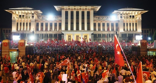 A large crowd gathering to listen to President Recep Tayyip Erdoğan speaking at a democracy rally to denounce the July 15 failed coup attempt in front of the Presidential Palace in Ankara, Aug.10.