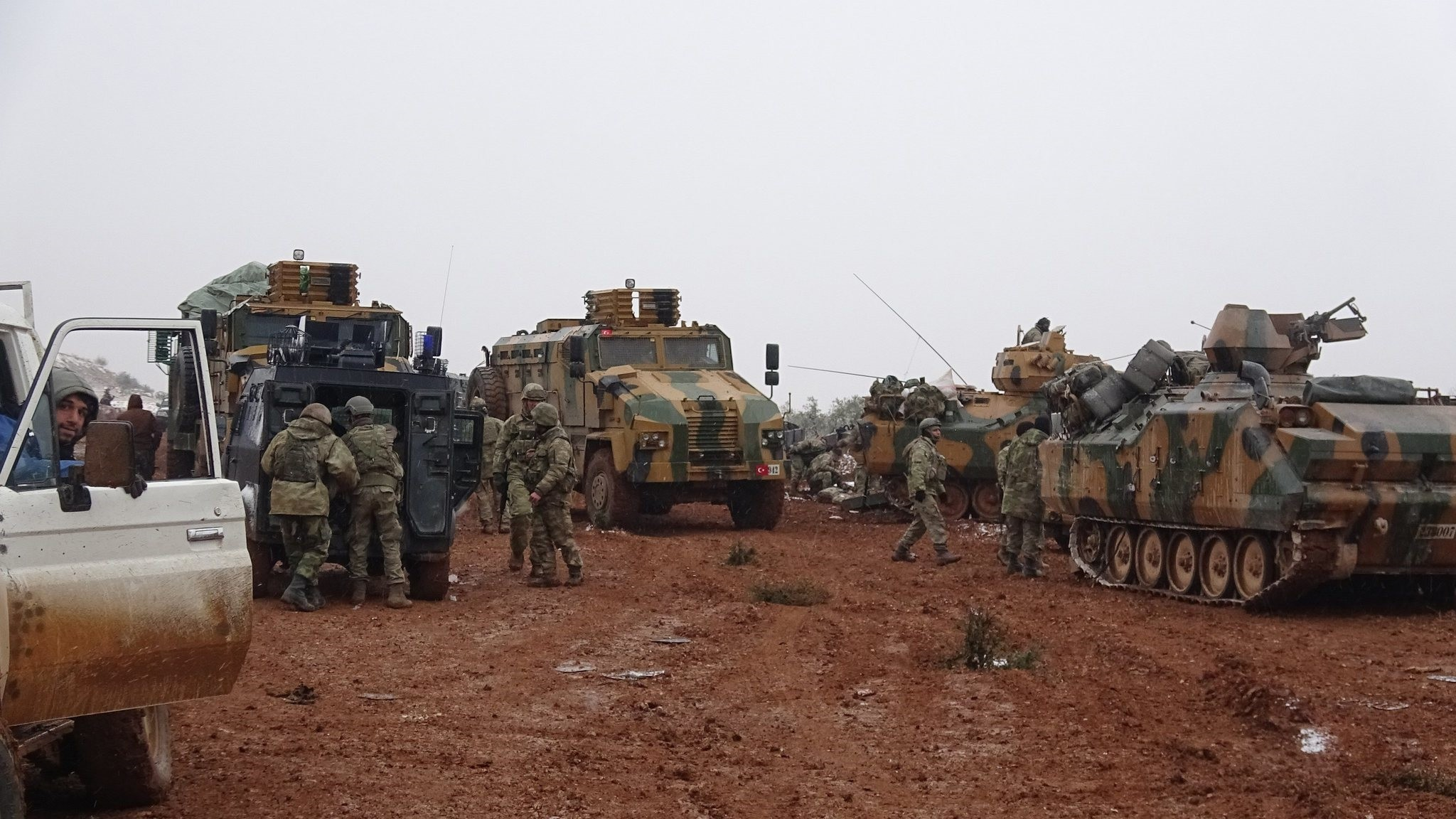 Turkish forces are seen in al-Bab town in northern Syria. (IHA Photo)