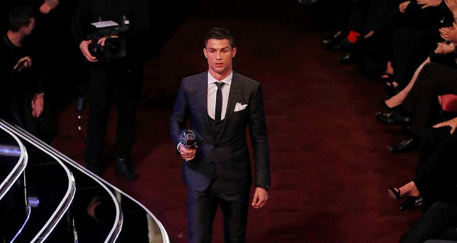 Real Madrid's Cristiano Ronaldo after being selected in the FIFA FIFPro World 11 during the awards (Reuters Photo)