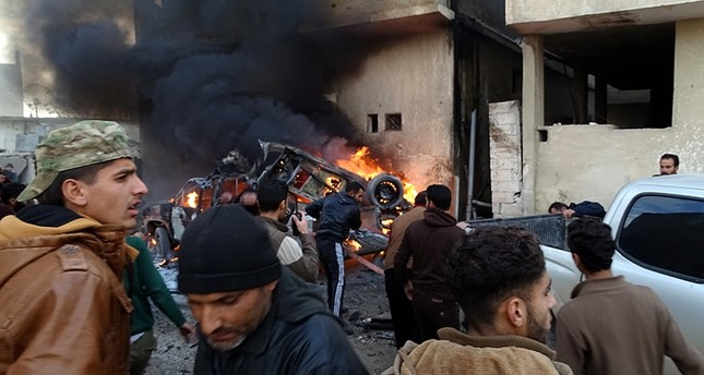 Syria's Idlib was hit with airstrikes by Russian and Syrian warplanes on Dec. 28, 2017. (AA Photo)