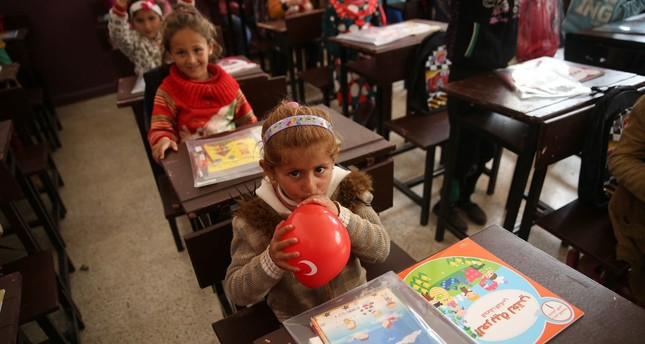 Syrian children returned to classrooms after two years, after Afrin was cleared of terror groups thanks to Operation Olive Branch, March 26, 2018.