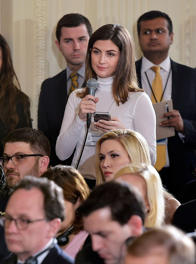 File photo from Feb. 13, 2017, shows The Daily Caller White House correspondent Kaitlan Collins asking a question during a press conference by U.S. President Donald Trump and Canada's Prime Minister Justin Trudeau. (AFP Photo)