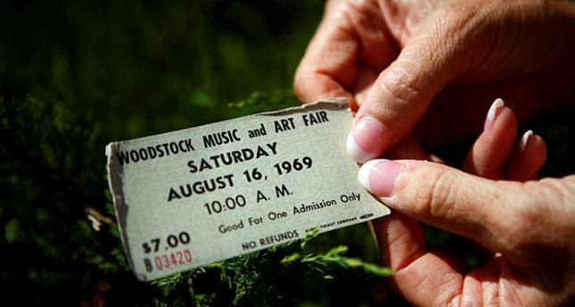 An original ticket at the site of the original Woodstock Music Festival in Bethel, New York.